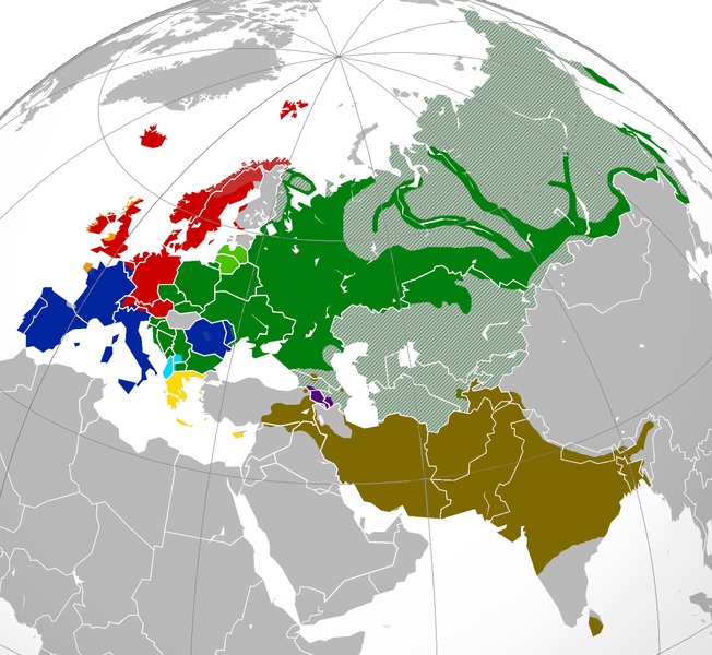 A map of Indo-European languages in Europe and Asia.