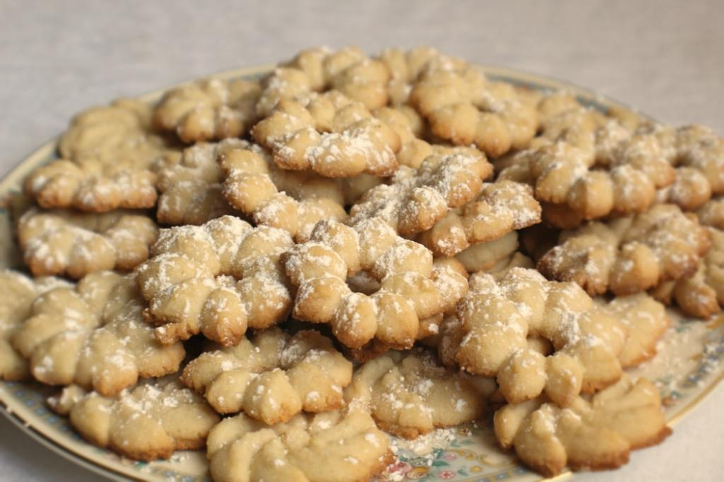 A plate of shortbread cookies.