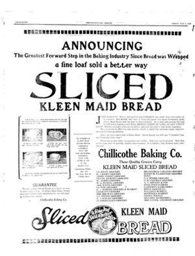 "An ad in the Chillicothe Tribune announcing ""Sliced Kleen Maid Bread."""