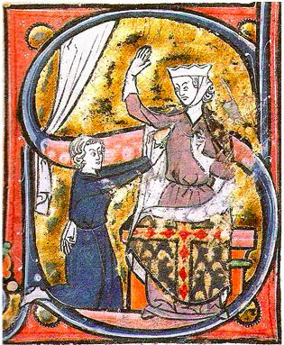 A man offering a woman a pinecone-shaped heart, a scene from Roman de la poire.