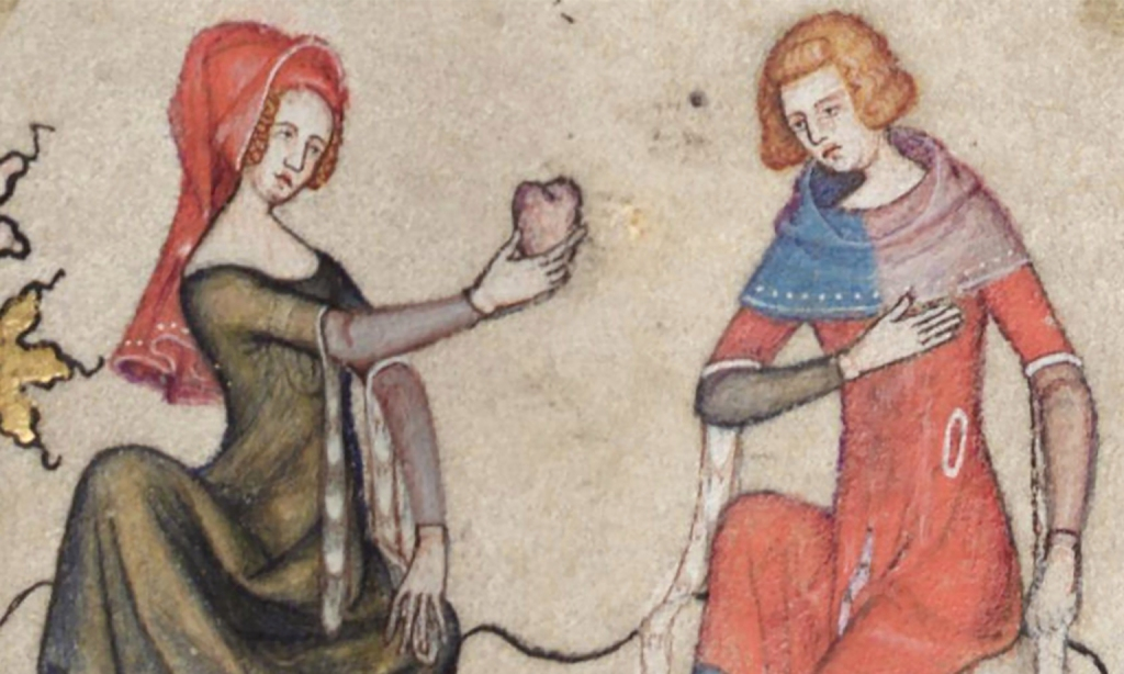 A woman offering a man a heart, a scene from The Romance of Alexander.