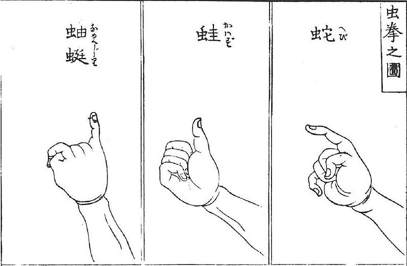 An image showing how to play mushi-ken. The three hand gestures include the pinky, the thumb, and the index finger.