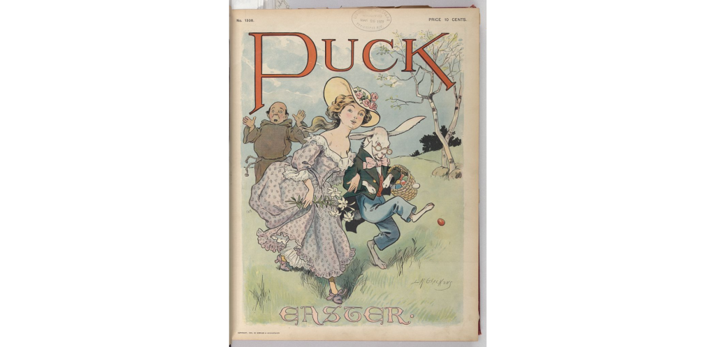 A Puck Magazine cover showing a young woman in a fancy dress, the Easter Bunny wearing clothing and carrying a basket of colored eggs, and an exasperated monk.