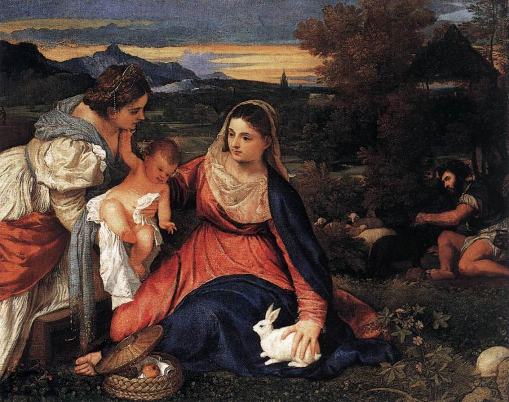 The Madonna of the Rabbit: a depiction of the Virgin Mary with the Christ Child, a hare, St. Katherine, and John the Baptist.