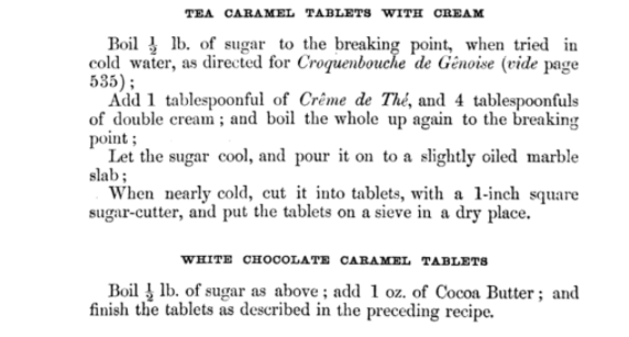 Recipe for white chocolate caramel tablets