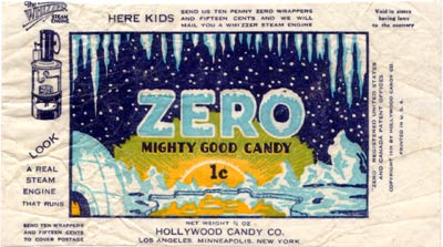 A vintage Zero bar wrapper.